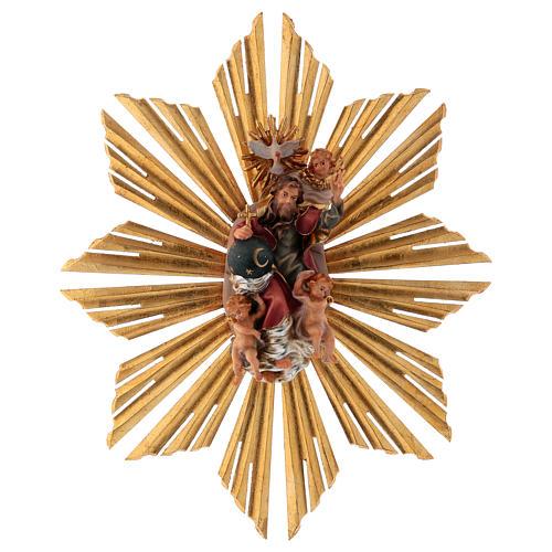 Imagen Dios Padre y Espíritu Santo en gloria con rayos belén Original madera pintada en Val Gardena 12 cm de altura media 1