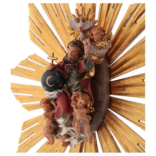 Imagen Dios Padre y Espíritu Santo en gloria con rayos belén Original madera pintada en Val Gardena 12 cm de altura media 2