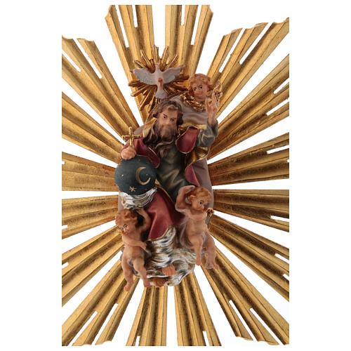 Imagen Dios Padre y Espíritu Santo en gloria con rayos belén Original madera pintada en Val Gardena 12 cm de altura media 6
