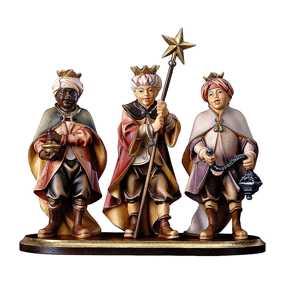 3 piccoli cantori su piedistallo presepe Original legno dipinto in Valgardena 10 cm 4
