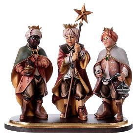 Belén Val Gardena: Tres pequeños coristas sobre pedestal belén Original madera pintada Val Gardena 12 cm de altura media