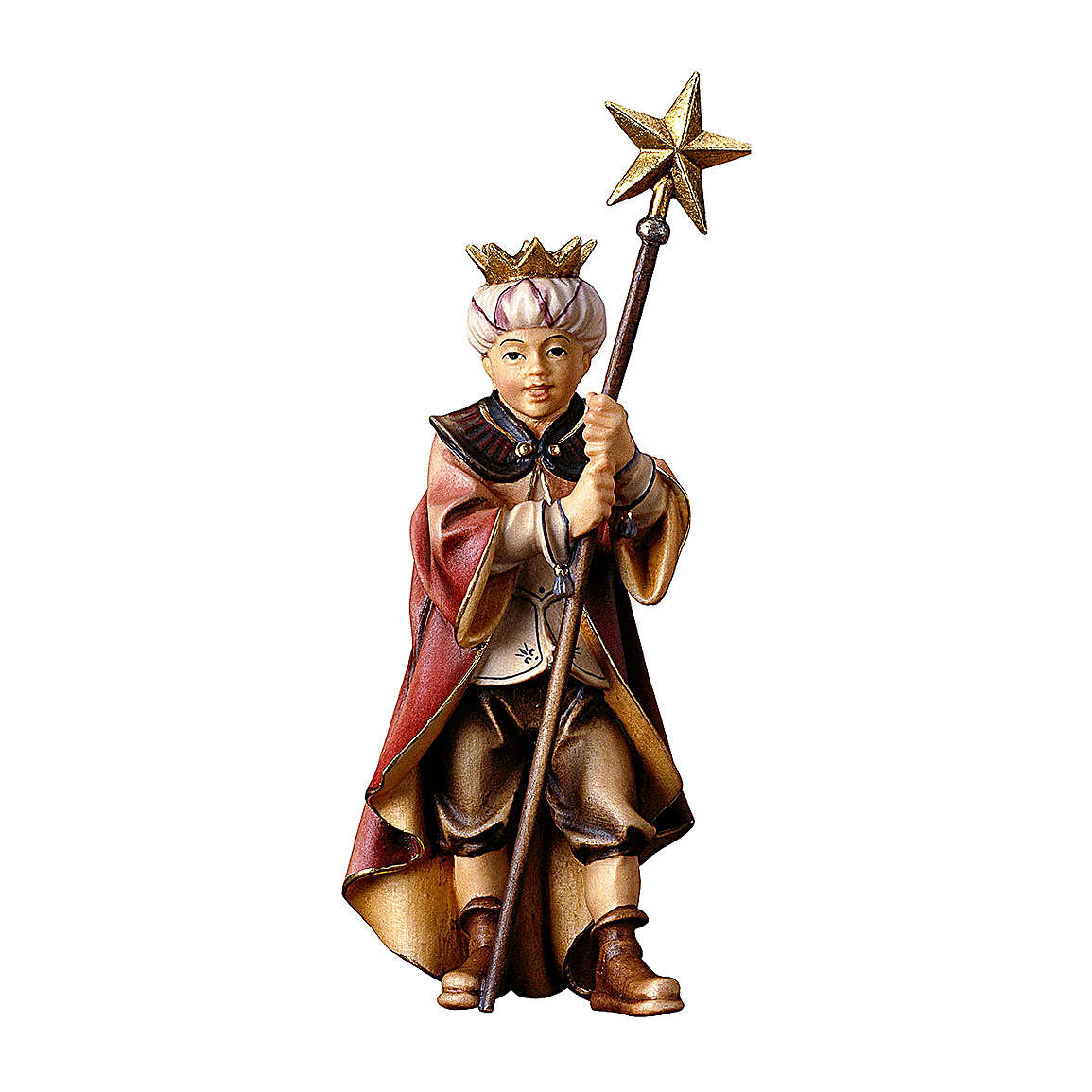 Piccolo cantore con stella presepe Original legno dipinto Val Gardena 10 cm 4