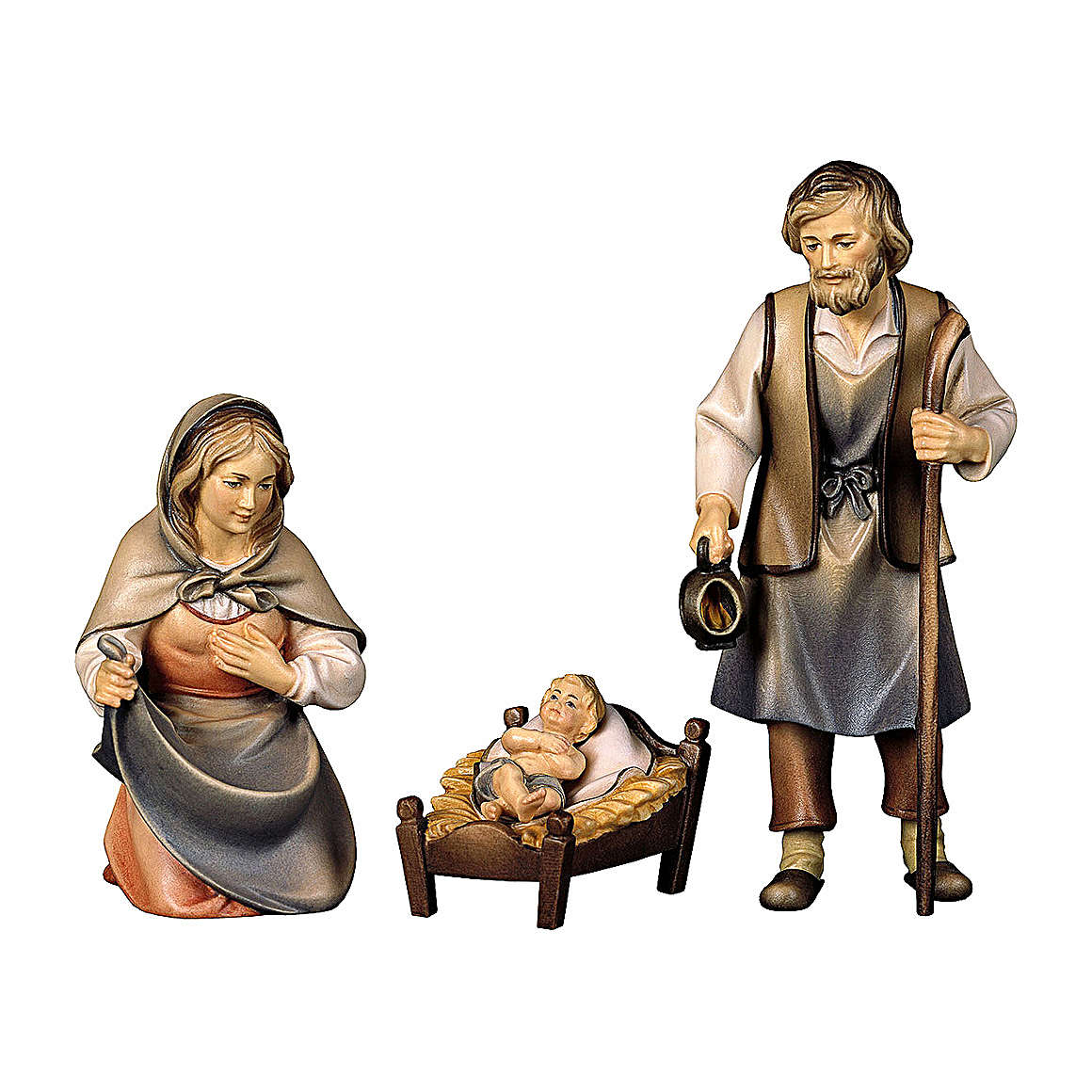 Sacra famiglia presepe Original Pastore legno dipinto in Val Gardena 12 cm 4