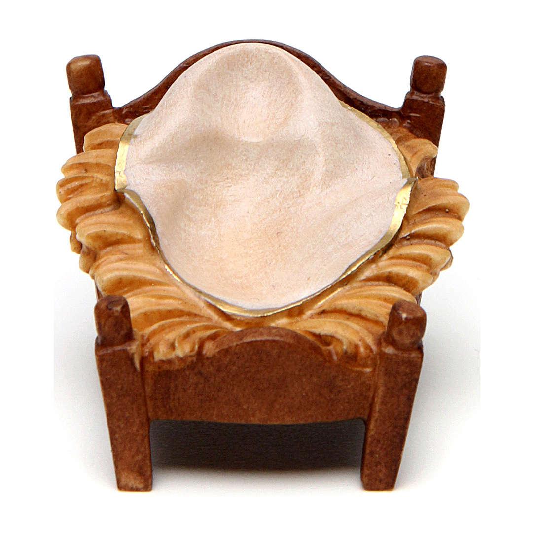 Culla dondolo presepe Original Pastore legno dipinto in Valgardena 12 cm 4
