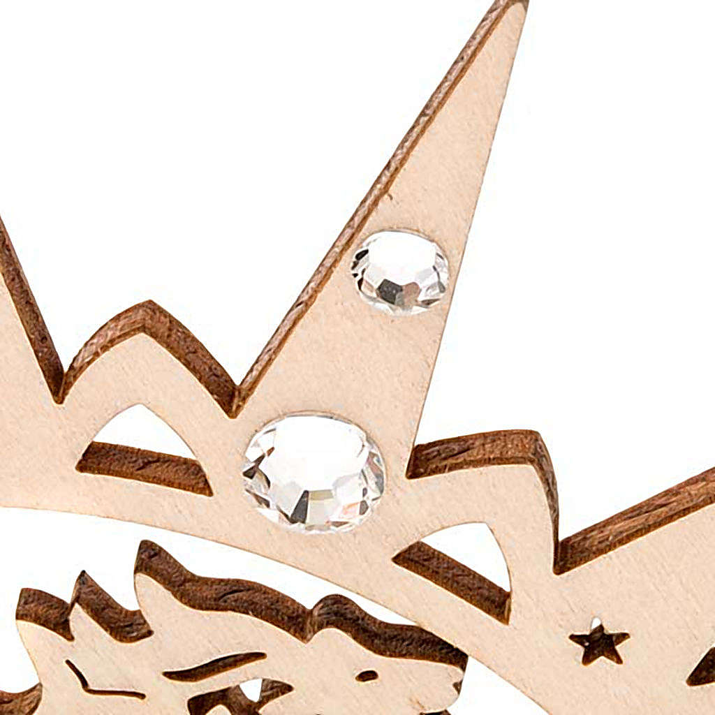 Carved star with reindeers and swarowski crystals 4