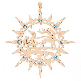 Carved star with reindeers and swarowski crystals s1