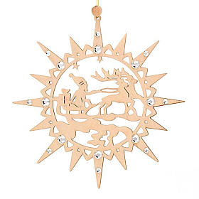 Carved star with reindeers and swarowski crystals s5