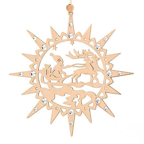 Carved star with reindeers and swarowski crystals 5