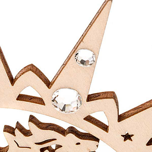 Carved star with reindeers and swarowski crystals 6