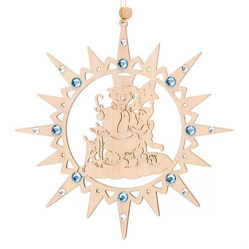 Addobbo natalizio stella con pupazzo di neve e Swarovski 3