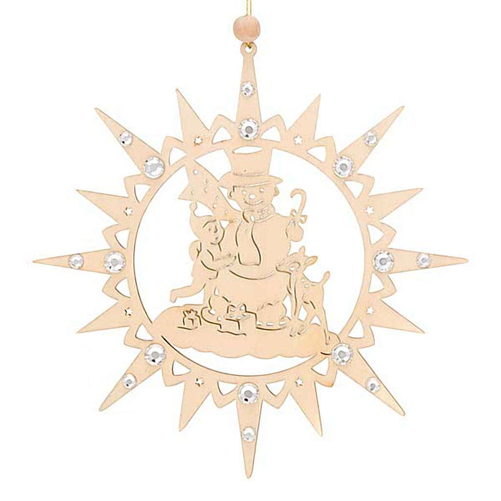 Adorno de Natal estrela com boneco de neve e Swarovski 4