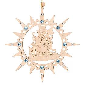 Adorno de Natal estrela com boneco de neve e Swarovski s3