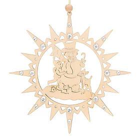 Adorno de Natal estrela com boneco de neve e Swarovski s6