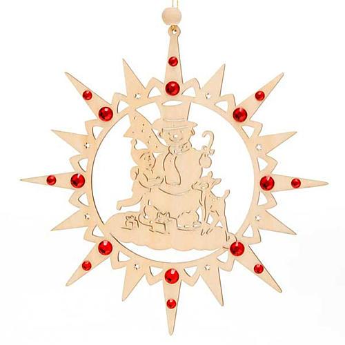 Adorno de Natal estrela com boneco de neve e Swarovski 1