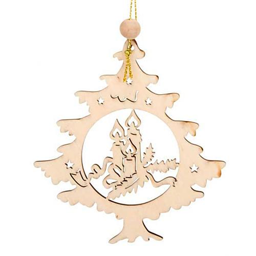 Décor sapin de Noël en forme de sapin avec bougies 1
