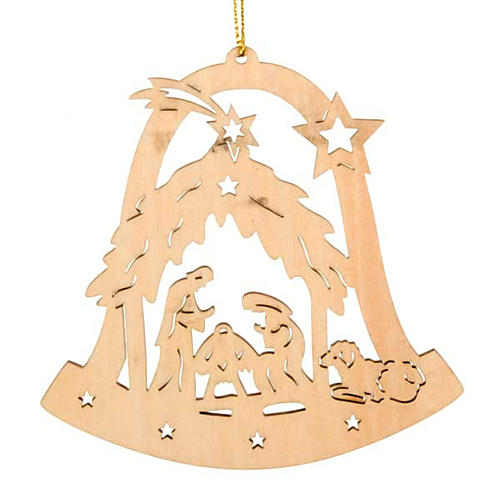 christmas tree decoration bell shaped with holy family 1 - Christmas Tree Bell Decoration