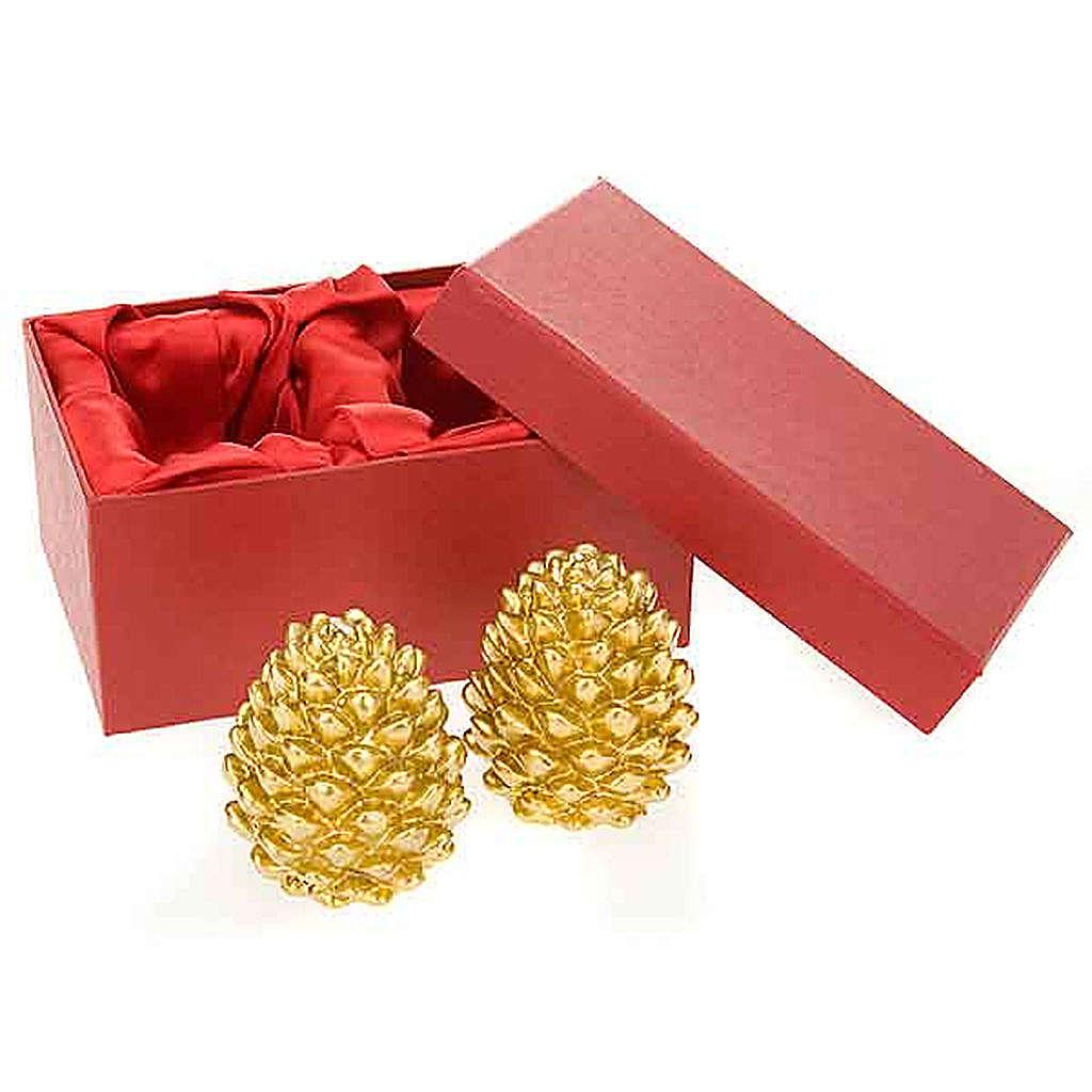 Candele natalizia pigna oro addobbi di Natale 3