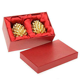 Candele natalizia pigna oro addobbi di Natale s1