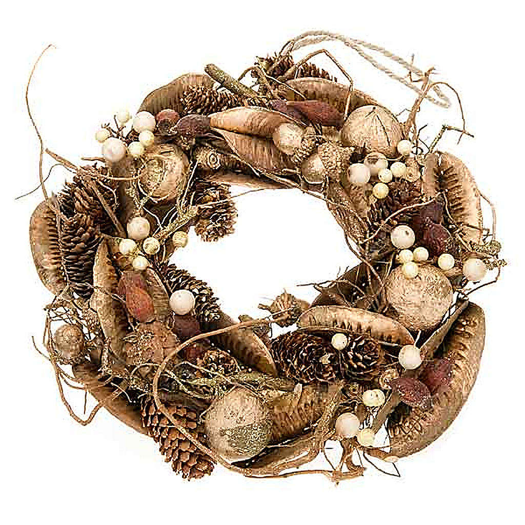 Corona natalizia bosco oro addobbo natalizio 3