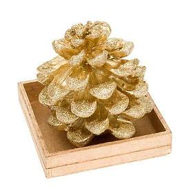 Bougie de Noël pomme de pin or s1