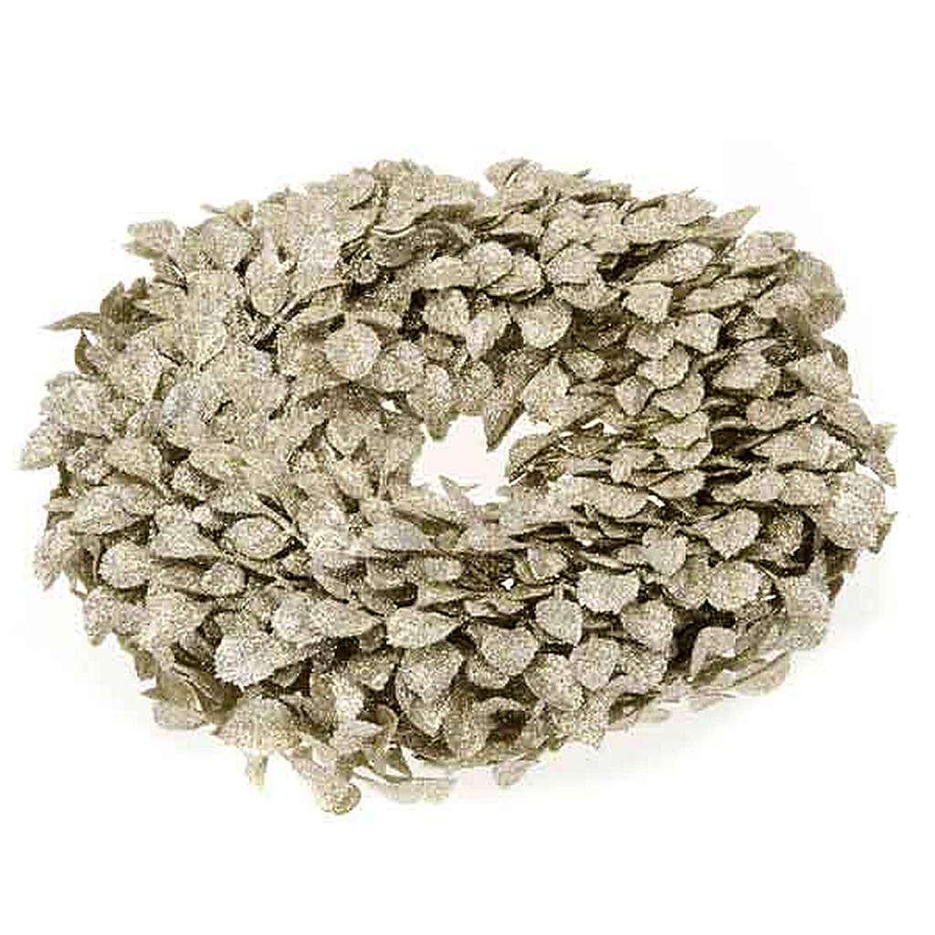 Base para vela guirnalda con hojas doradas 3