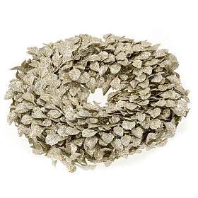 Base para vela guirnalda con hojas doradas s1