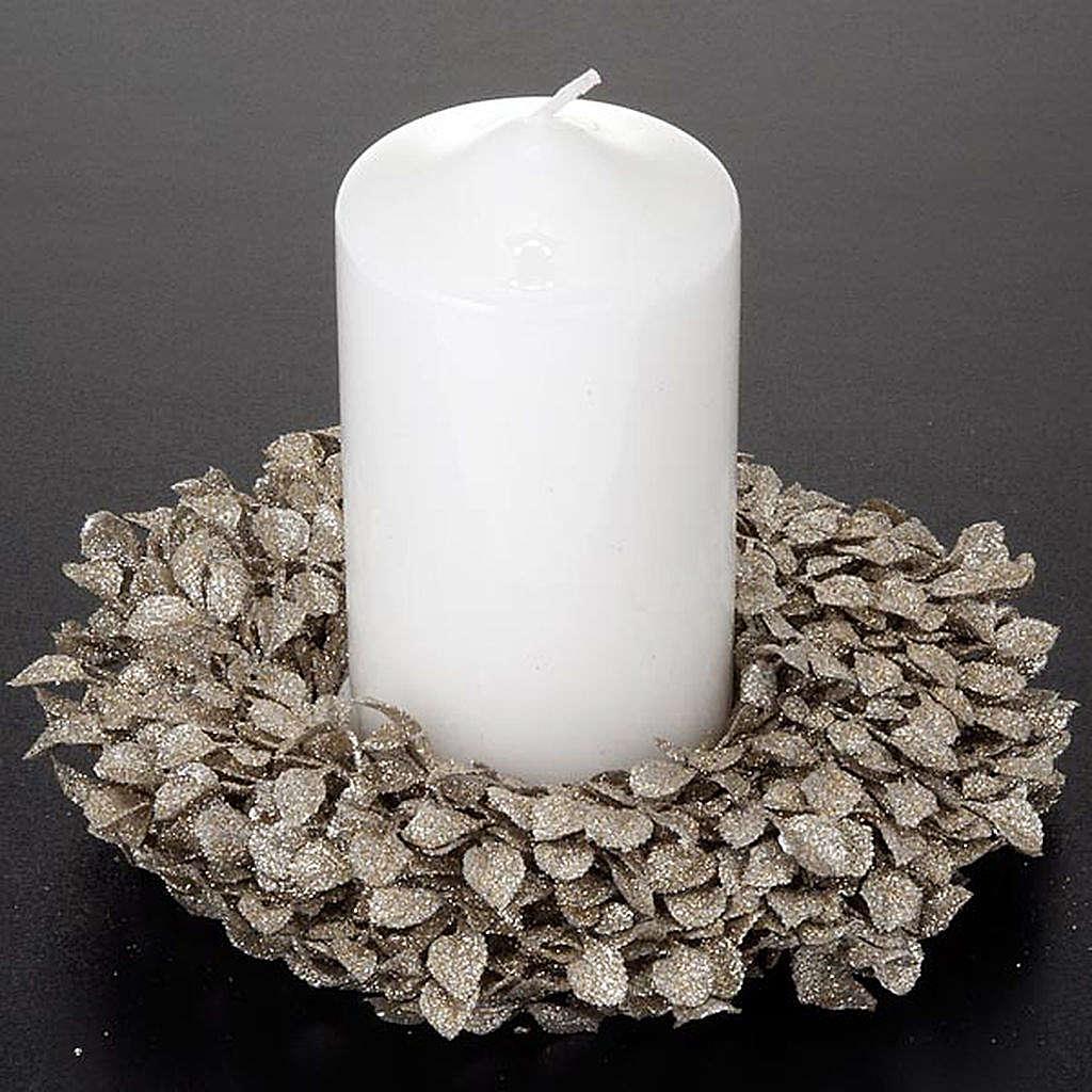 Anello candela glitter foglie decoro natalizio 3