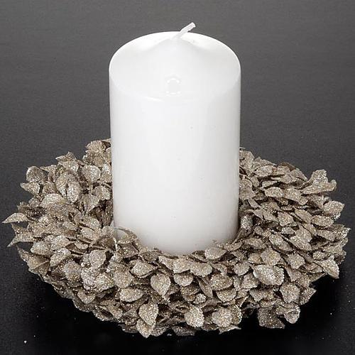 Anello candela glitter foglie decoro natalizio 2