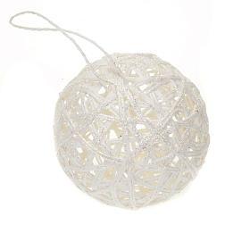Addobbo Natale palla natalizia intreccio bianca s1