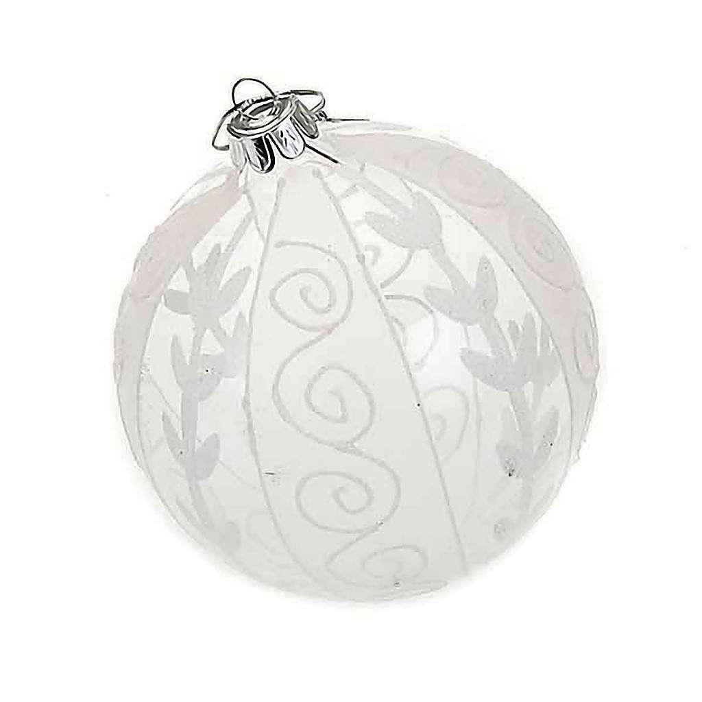 Addobbo Natale palla natalizia trasparente bianca 4