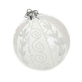 Addobbo Natale palla natalizia trasparente bianca s1