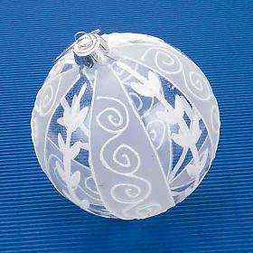 Addobbo Natale palla natalizia trasparente bianca s2