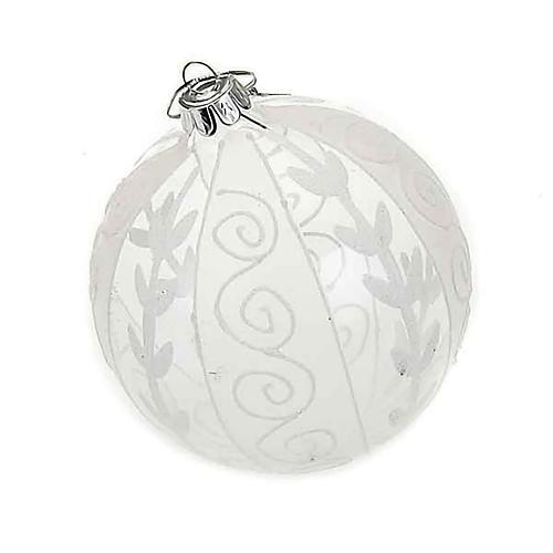 Addobbo Natale palla natalizia trasparente bianca 1