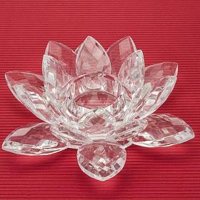 bougeoir en verre, fleur s2