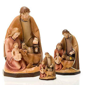 Painted wood nativity with ox and donkey s1