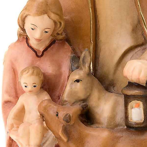Painted wood nativity with ox and donkey 2
