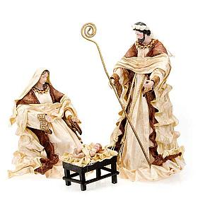 Ivory and brown nativity, 41cm s1