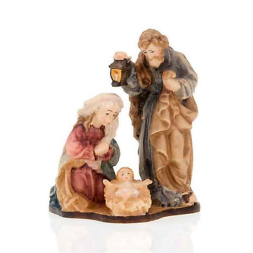 Hand-painted wooden nativity set with base 3