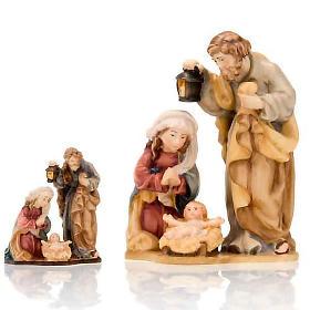 Belén Val Gardena: Natividad de madera con base pintada a mano