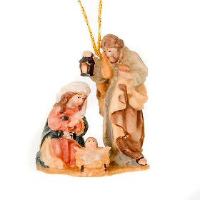 Natividade com fio em madeira pintada 6 cm s1