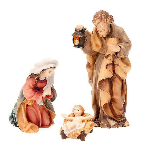 Hand-painted wood nativity 11cm 1