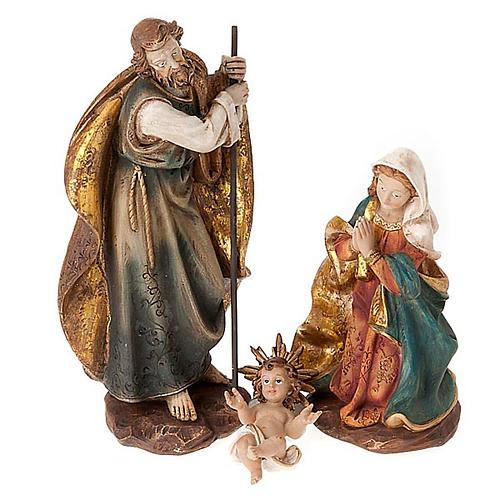 Nativité Sainte Famille colorée 28 cm 1