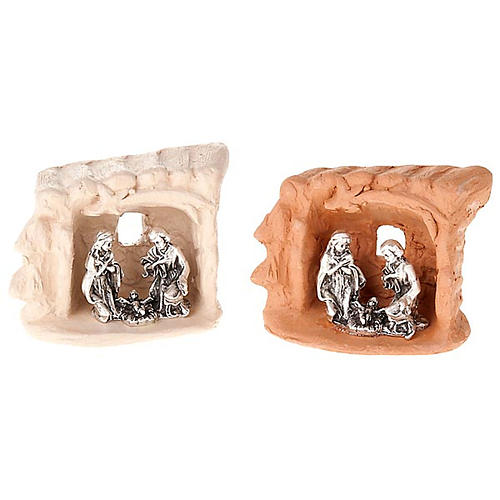 Nativity set clay and tent 6 cm 1