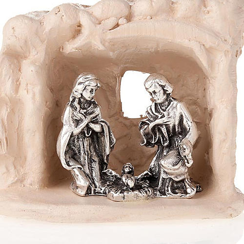 Nativity set clay and tent 6 cm 2