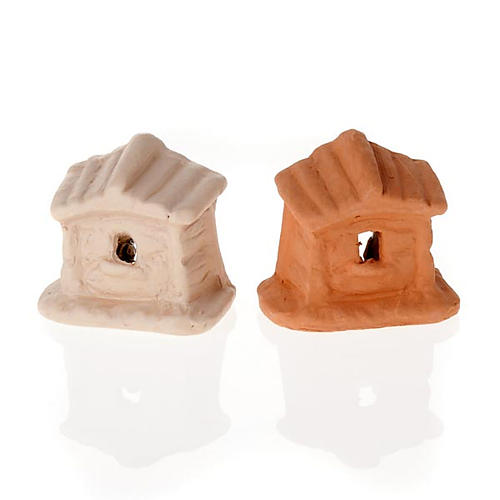 Nativity set of clay with church 6 cm 3