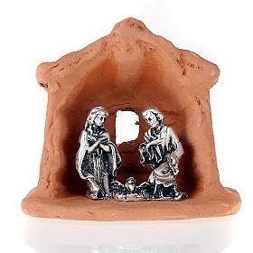Crèche métal et terre cuite église 6 cm s2