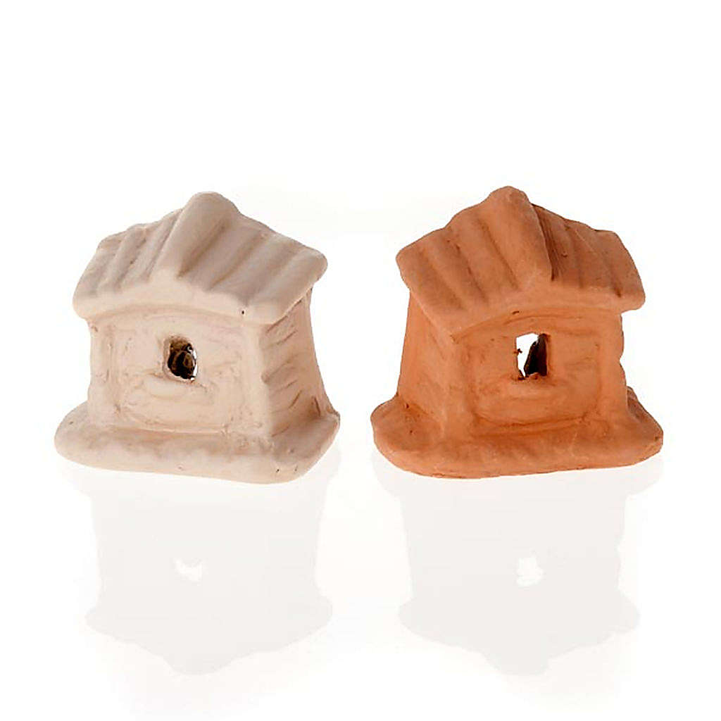 Nativity set of clay with church 6 cm 4