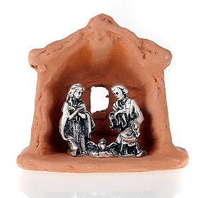 Nativity set of clay with church 6 cm s2