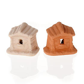 Nativity set of clay with church 6 cm s3