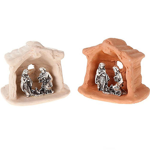 Nativity set of clay with church 6 cm 1